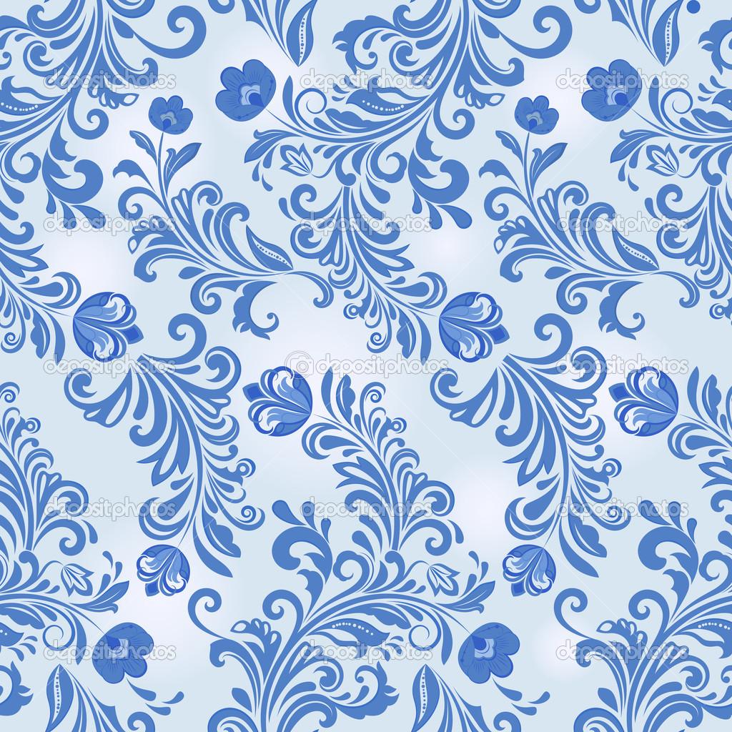 blå tapeter med blommor