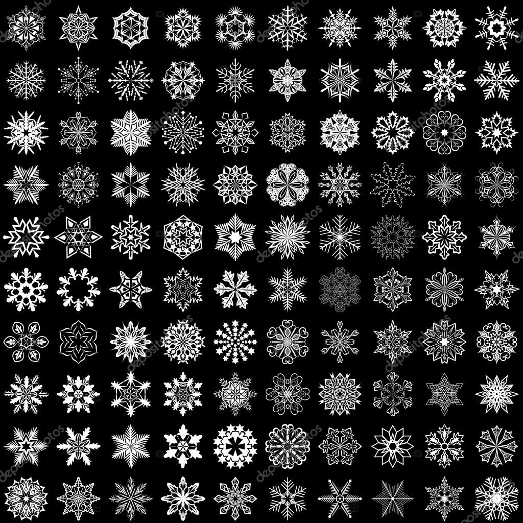 Set of vector snowflakes isolated on black background. 100 snowf