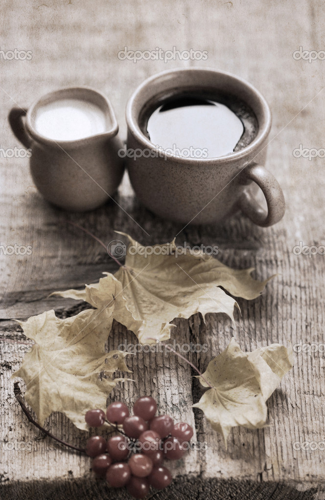 Artwork in retro style, cup of coffee, milk jug, yellow leaves,
