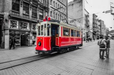 Red tram in Istanbul, Istiklal street, Turkey