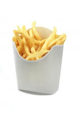french fries in a white paper wrapper isolated on white backgrou