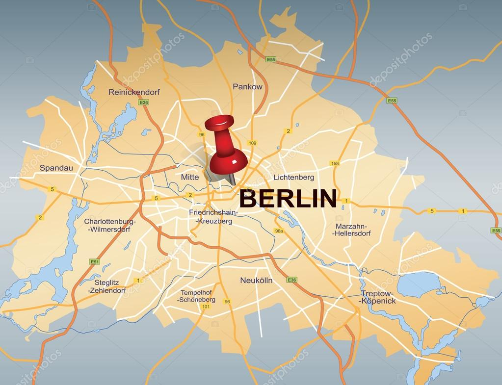 Map of Berlin with red push pin — Stock Vector © chrupka #37017833