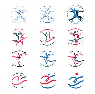 Fitness, dance elements and icons with human silhouettes. vector
