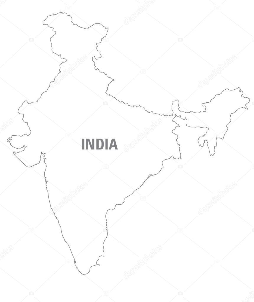 mapa blanco y negro de la india — Archivo Imágenes Vectoriales ...