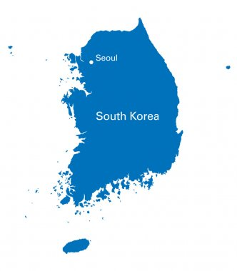Black and white map of South Korea