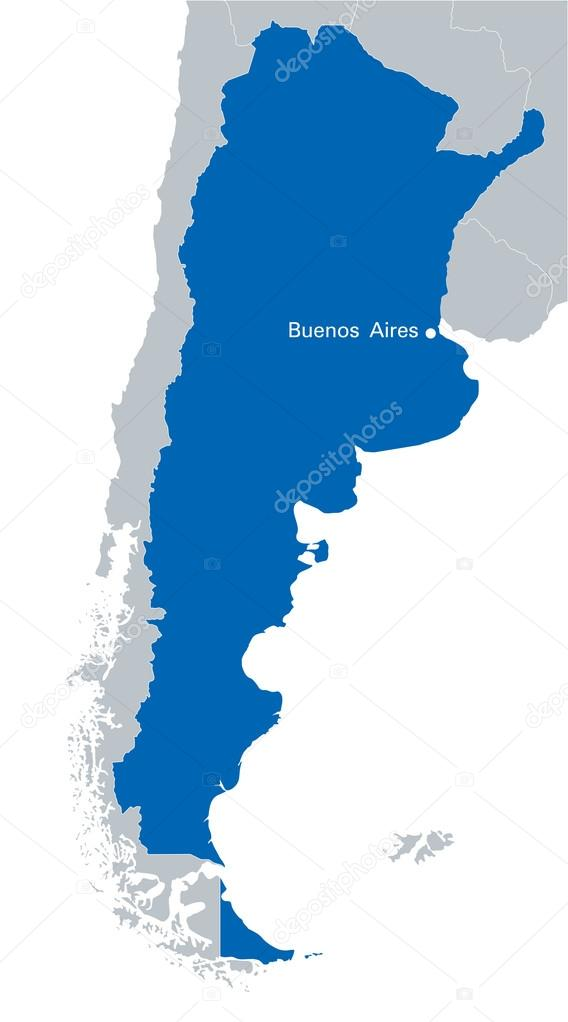Blue Map Of Argentina With The Indication Of Capital City Buenos - Argentina map download