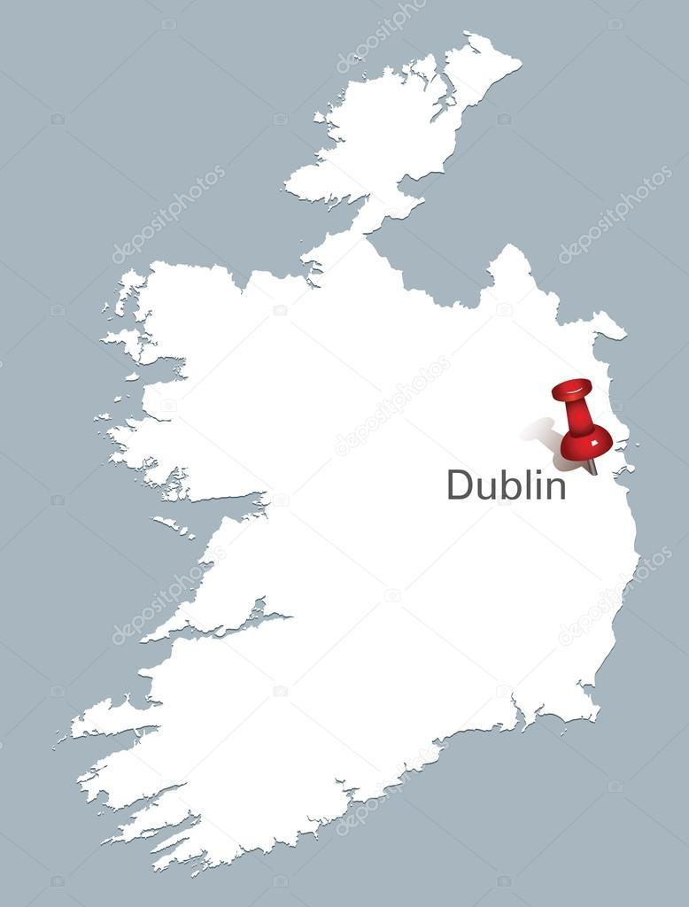 White map of ireland with red push pin indicating the position of white map of ireland with red push pin indicating the position of dublin stock vector gumiabroncs Gallery