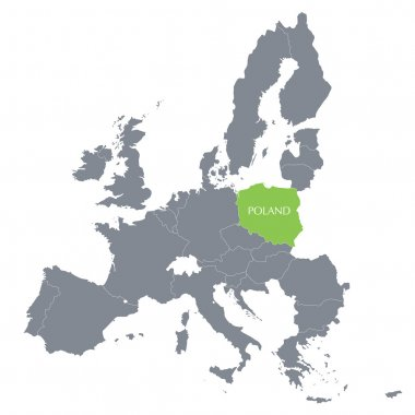 Map of European Union with the indication of Poland