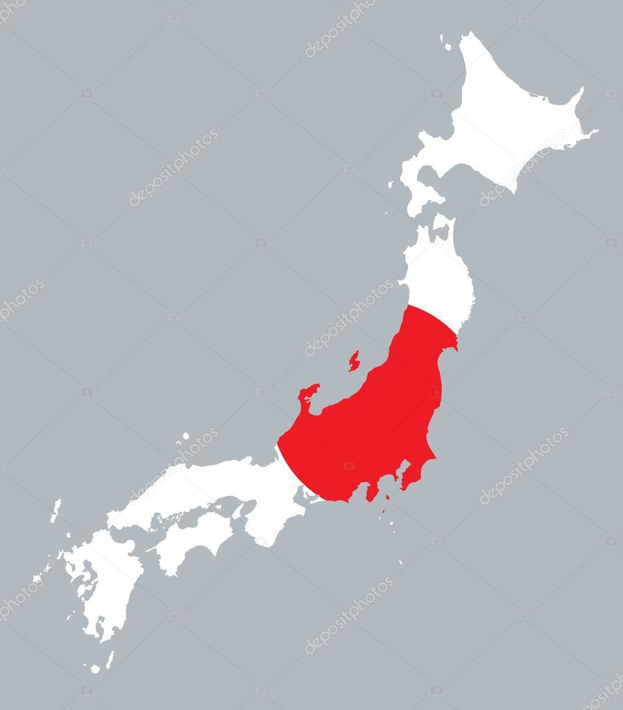 Map And Flag Of Japan Stock Vector Chrupka - Japan map red