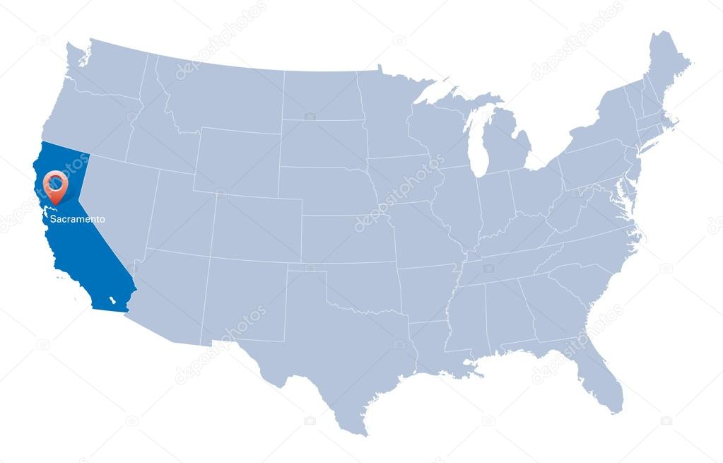 Map Of USA With The Indication Of State Of California And - California usa map