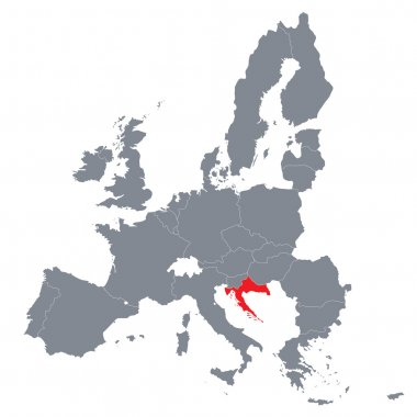 Map of European Union with the indication of Croatia
