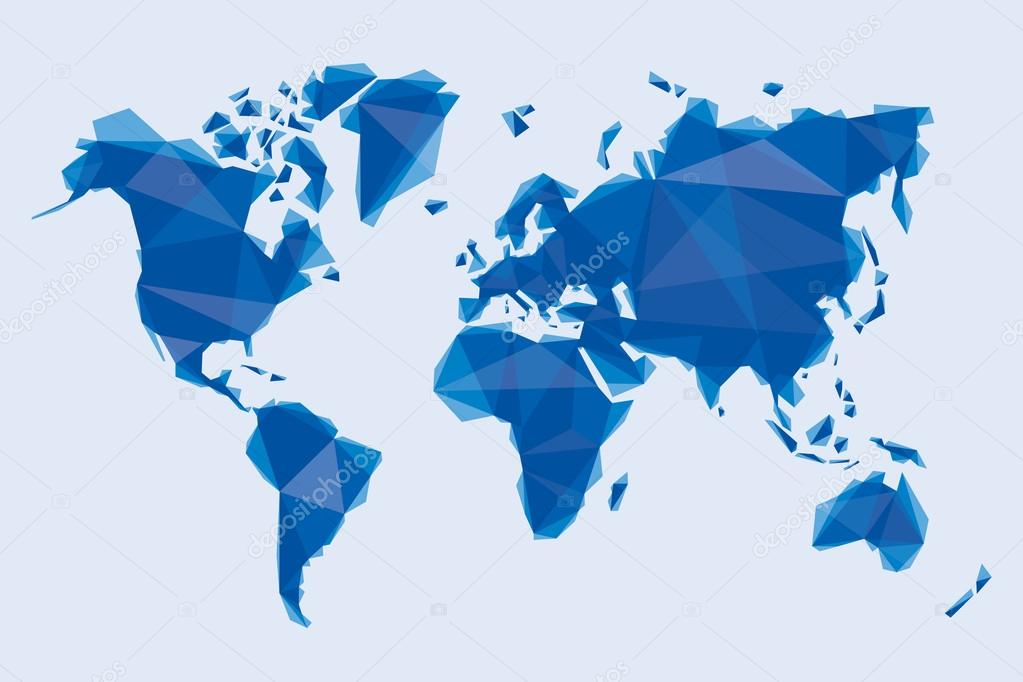 Carte Du Monde Origami.Carte Bleue Du Monde Dans Un Style Origami Image Vectorielle