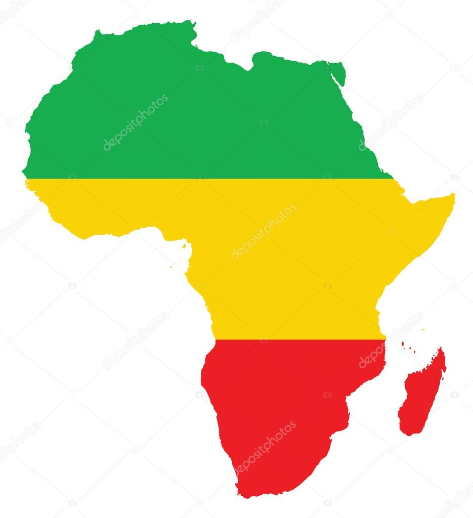 Map Of Africa Feeling With Colors From The Congo Flag Stock Vector