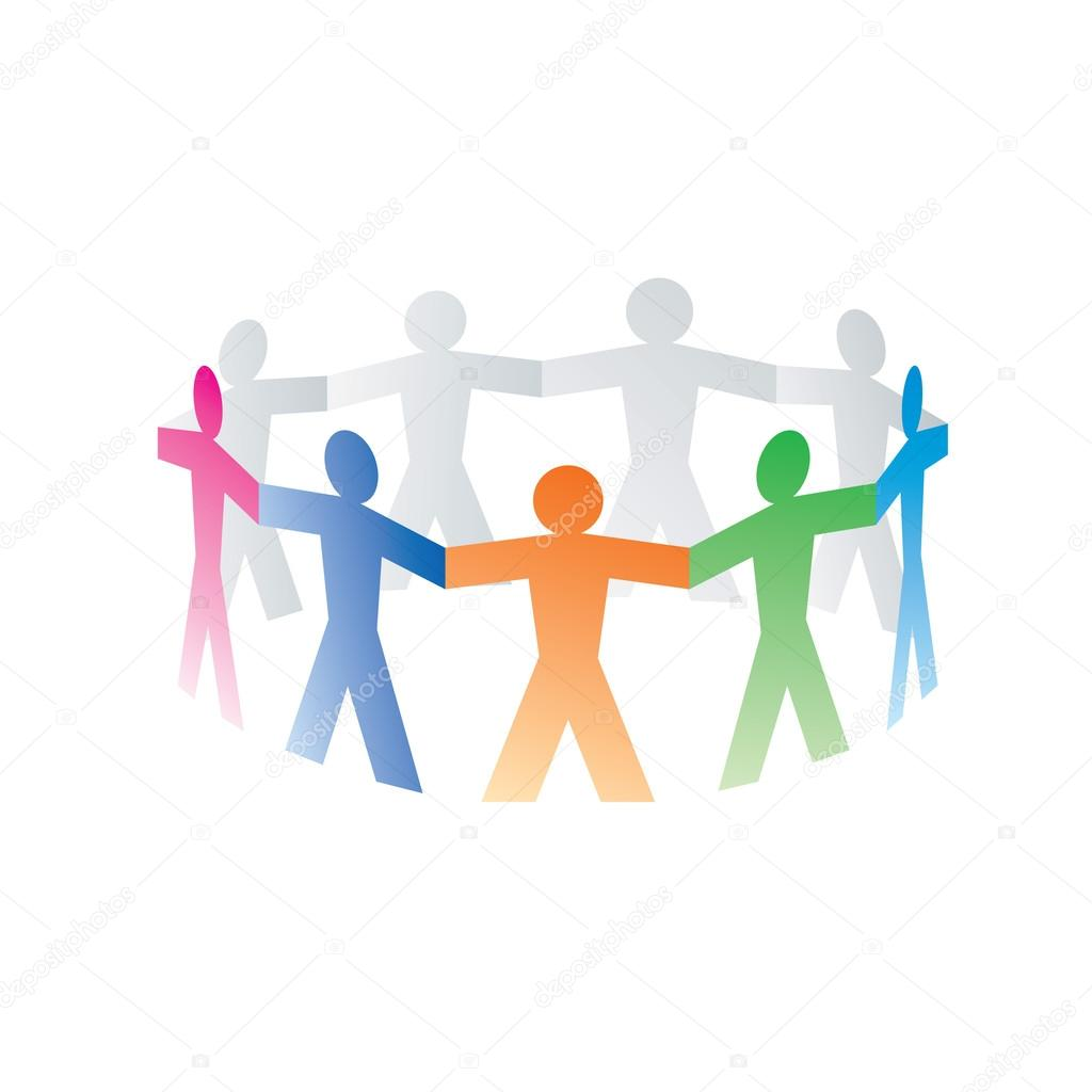 Circle of colorful paper people on white background