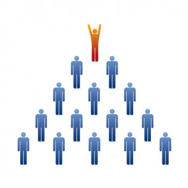 Pyramid of people icons with leader on the top
