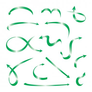 Set of green curved arrows