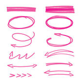 sada růžové ručně kreslenou šipky značky a zvýraznění prvků