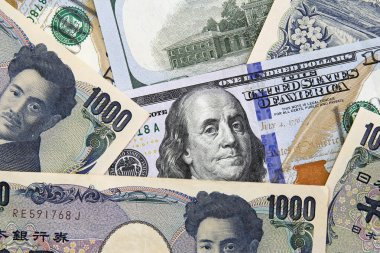 American dollars and yens- concept of currency exchange rate