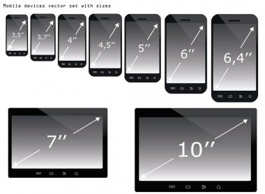 Mobile devices sizes vector illustration set