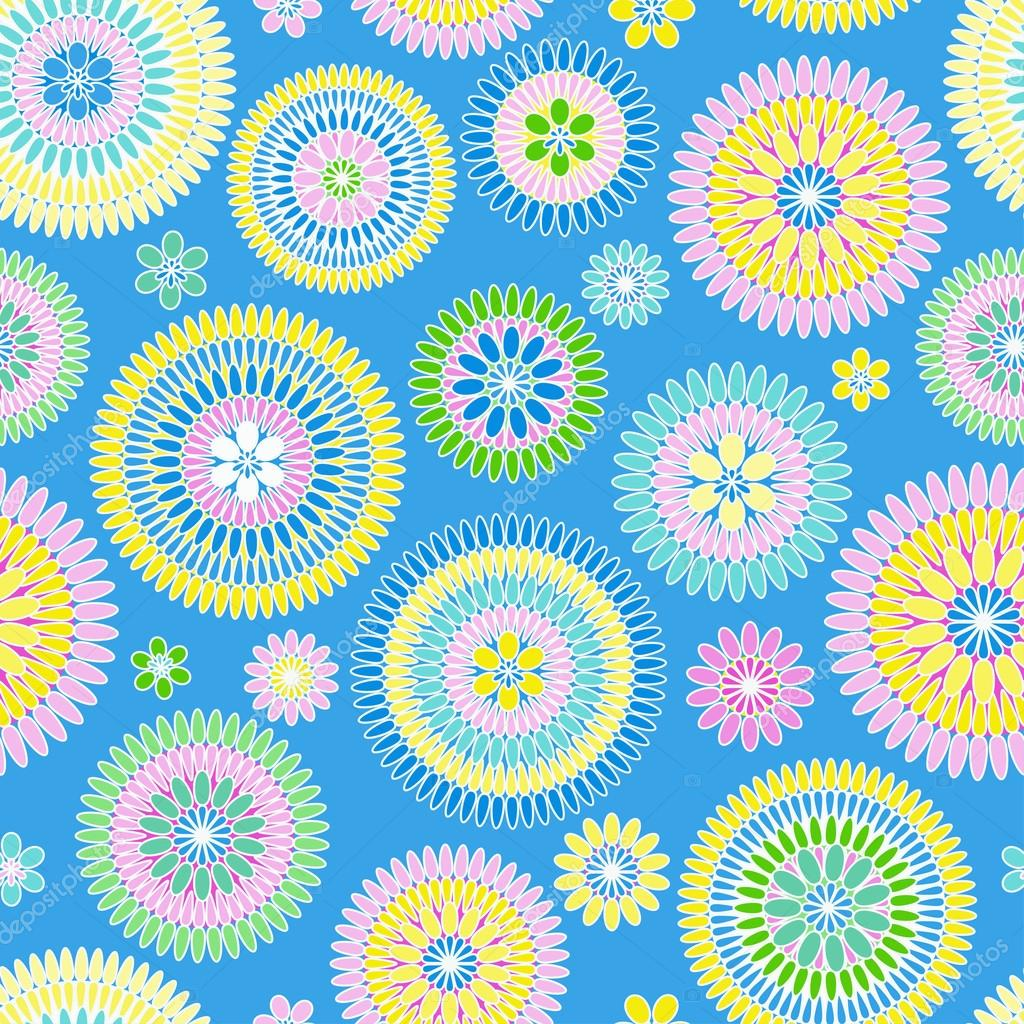 Seamless retro flower pattern on blue background