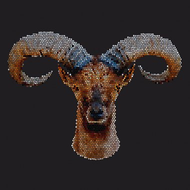 Mosaic portrait of a mountain goat male, isolated on dark background.