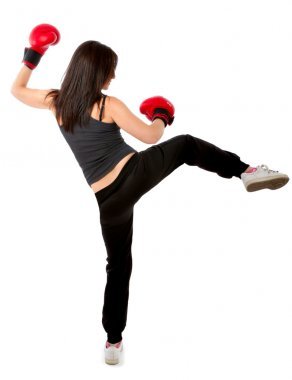 Woman kick boxing position