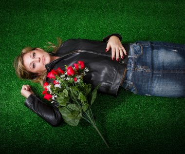 Senior lady with red roses