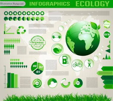Ecology social info graphics vector elements.