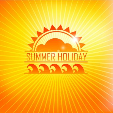 Summer holidays illustration with logo