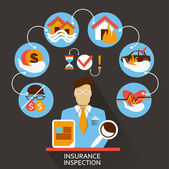 Photo Flat design . Freelance career. Insurance inspection.