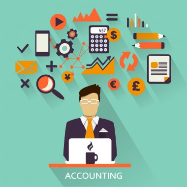 Flat design . Freelance career. Accounting.