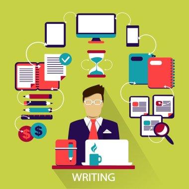Flat design . Freelance career. Writing.