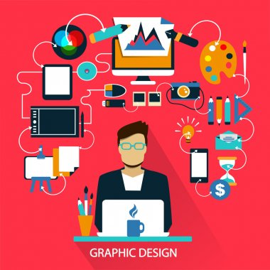 Flat design . Freelance career. Graphic design