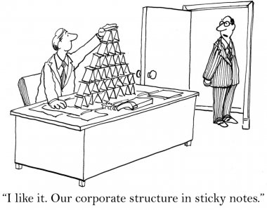Our corporate structure is in sticky notes