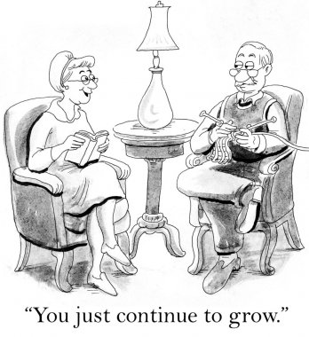 Wife compliments the husband on learning to knit