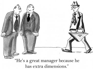 An executive compliments the skill of a manager