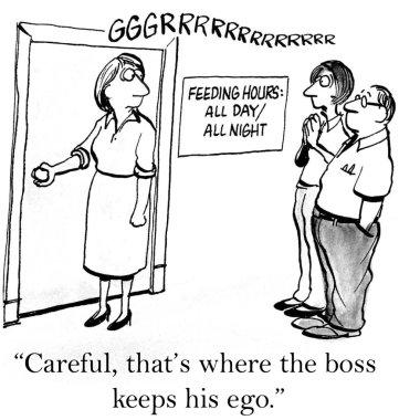 Worker opens door that leads to boss' ego