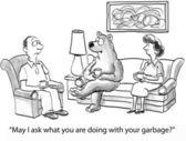 Fotografie Cartoon-Illustration. Rifling durch Müll