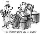 Cartoon-Illustration. Hund nimmt Man für einen Spaziergang