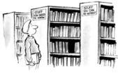 Cartoon illustration. Man in library.