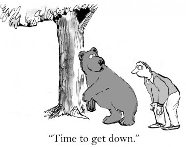 Cartoon illustration. Bear and man walking on all fours