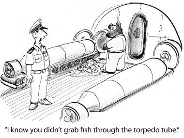 Cartoon illustration. Bear on submarine grabs fish through tube