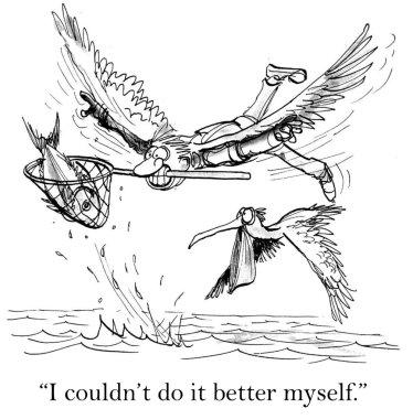 Cartoon illustration. Fish catcher