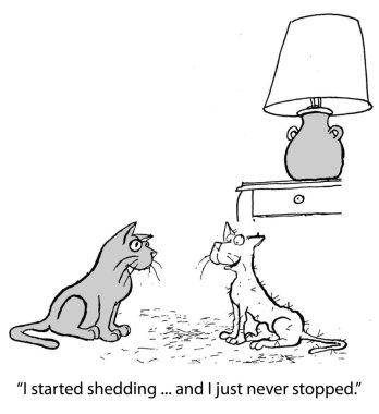 Cartoon illustration. Cat sheds a lot