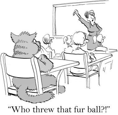 Cartoon illustration. Cat threw a fur ball in class