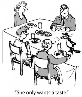 Cartoon illustration. People eat at the table