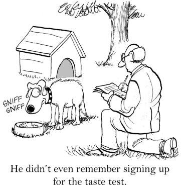 Cartoon illustration. Dog suspicious of bad food doctor