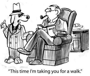 Cartoon illustration. Dog taking man for a walk