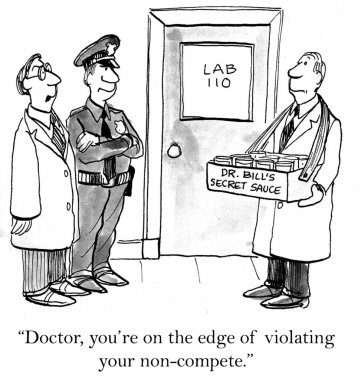 Cartoon illustration. Criminal lab. Secret sauce
