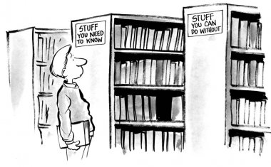 Cartoon illustration. Man in library.
